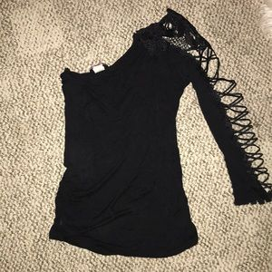 Body Central S / M One Sleeve Club Top Lace Sexy